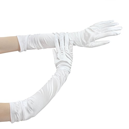 FakeFace Opernlänge Fingerspitzen Handschuh Elastischer Satin Brauthandschuhe Party Abendhandschuhe handschuhe Winter Frühling Sommer (Kreative Paar Kostüme)