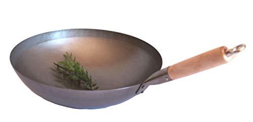 AAF Nommel®, Wok Pfanne runder Boden Ø 40 cm, für Gas, mit Holzgriff auch zum Aufhängen