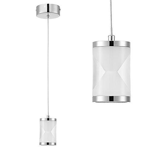[lux.pro] LED Hängeleuchte Lampe einflammig Chrom Esszimmer Modern Milchglas Weiß