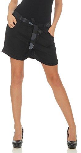 Malito Damen Shorts aus Leinen | Lässige Kurze Hose | Bermuda für Den Strand | Pants - Hotpants 6058 (Schwarz, M)