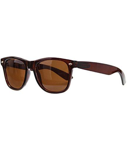 Caripe Retro Nerd Vintage Sonnenbrille verspiegelt Damen Herren 80er - SP (braun transparent - braun polarisiert - 6007)
