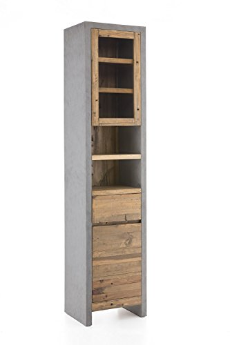 Woodkings® Hochschrank Burnham 45x200cm Echtholz Pinie Natur rustikal Betonoptik grau Badmöbel Badezimmer Badezimmerhochschrank Badschrank Bad modern
