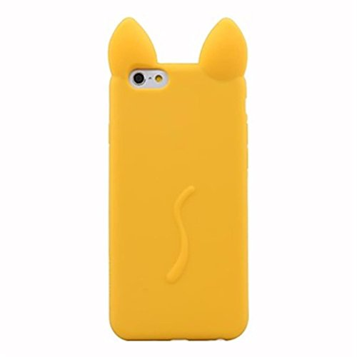 NightKid Chats et chatons mignons d'oreille silicone souple coque (iPhone 5C iPhone 6S iPhone 6 iPhone 5/5S iPhone 4/4S )(iPhone 5/5S,Vert) Jaune