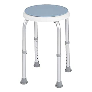 Shower Stool,Adjustable Chair Bathing Aid Round Bath Shower Stool Aluminum Alloy Swivelling Seat 360°Rotating Safety Seat