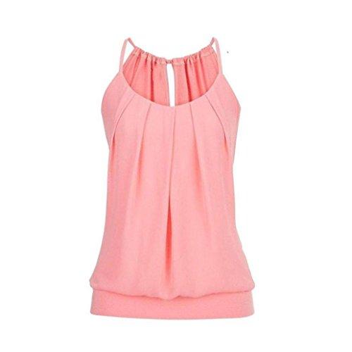 l Sommer Strappy Lose Geknitterte O Neck Cami Tank Tops Weste Bluse Tees Frauen Hemd Freizeit Oberteile T Shirt(Rosa,EU-36/CN-M) (4 Frauen Gruppe Kostüm)