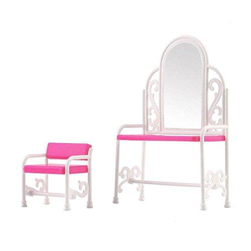calistouk Barbies Puppen Schlafzimmer Möbel Schminktisch Stuhl Zubehör Set (Schlafzimmer Möbel-sets)