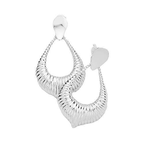 Trendige Gerippt (Schmuckanthony Trendige Schöne Lange Ohrclips Clips Clip On Ohrringe Creolen Kreolen Silber Rhodium mit Motiv 6,5 cm lang)