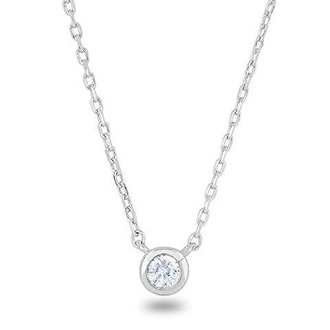 rhodium plaqué argent sterling 925Oxyde de zirconium Faux Diamant rond Bezel-set Solitaire Collier