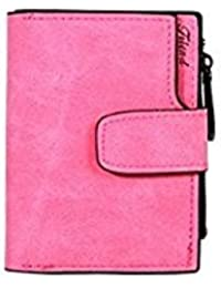 Tradico® Women Fashion PU Leather Wallet Button Clutch Case Purse Handbag(Rose Red)