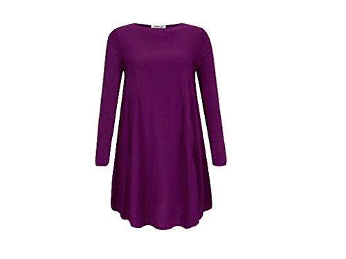 Damen Langarm rot kariert Übergröße Flared Schaukel Kleid, 8-22 Violett - Violett