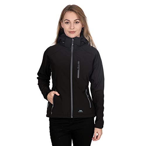 Trespass Women's Bela II Waterproof Softshell Jacket with Removable Hood, Black, Medium