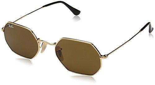 RAYBAN JUNIOR Unisex-Erwachsene Sonnenbrille Octagonal Flat Lenses, Gold/Brown, 53