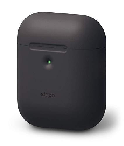 elago A2 Silikonhülle kompatibel mit Apple AirPods 2 Wireless Hülle (LED an der Frontseite sichtbar) - [Unterstützt kabelloses Laden] [Extra Protection] (ohne Karabiner, Schwarz)