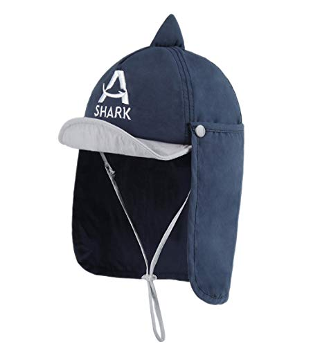 Foruhoo Baby Mütze UV-Schutz 50 mit Kordelzug for Jungen, Breite Krempe Sommerhut Sonnenhut (50, hai dunkelblau)