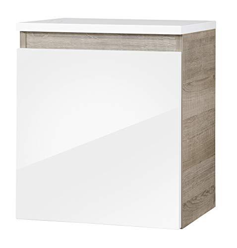 FACKELMANN Unterschrank PIURO/gedämpfte Scharniere/Maße (B x H x T): ca. 40,5 x 46 x 30,5 cm/hochwertiges Möbelstück/Türanschlag frei wählbar/Korpus: Braun hell/Front: Weiß Hochglanz