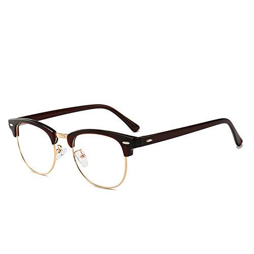 Männer Frauen Mode Retro Frame Plain Glass Spectacles Brown