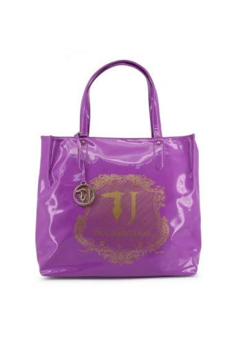 Trussardi jeans borsa shopping bag in vernice collezione 2016 (viola)