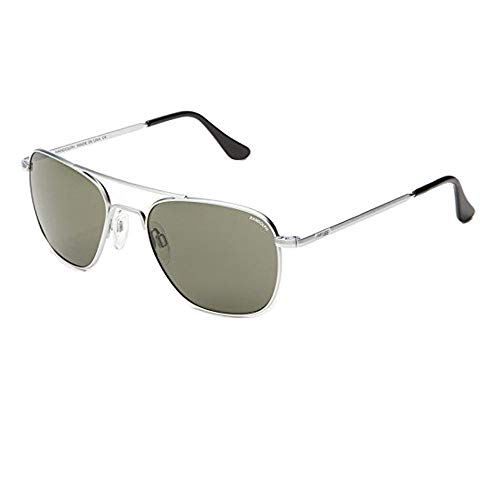 Randolph Engineering Aviator Matte Chrome Sunglasses - Gray Polarized Glass Skull 55MM