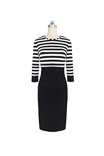 Frauen - 3 / 4 - Ärmel Streifen Patchwork - Bodycon Büro Kleid Black