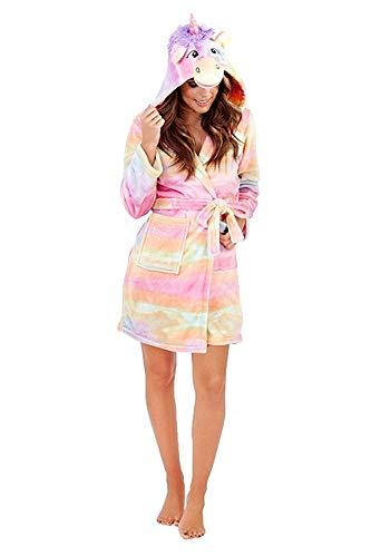 Damen Loungeable 3D super weich Rainbow Einhorn Alles in eins - Erwachsene - Rainbow Einhorn Robe, L (44-46)