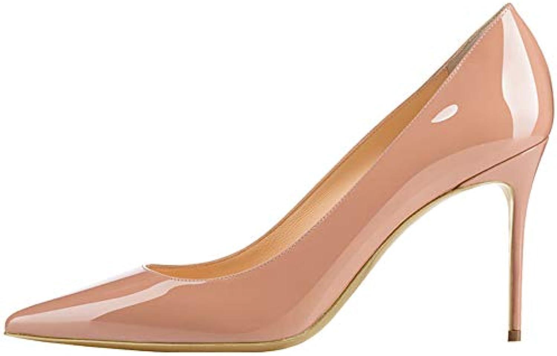 8ced82a8dbd51 RSHENG Mesdames Haut Talon Noir Rivet Cuir Chaussures Blanc Beige en Cuir  Rivet Verni Chaussures De Mariage Chaussures De...B07JXYWQWFParent e9a086