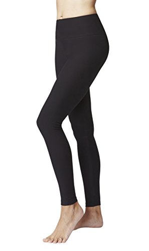 TLC Sport Damen Figur Straffung Abnehmen Kompression Sport Taille Kontrolle Ebene Gym Leggings-Schwarz-X-Large (44)