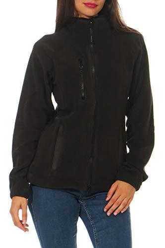 Happy Clothing Damen Fleecejacke Microfleece Outdoor-Jacke ohne Kapuze mit Kragen Dunkelblau Schwarz S M L, Größe:S, Farbe:Schwarz