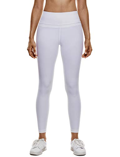 CRZ YOGA Damen Sports Yoga Leggings Sporthose mit Hoher Taille-Nackte Empfindung -19\'\' / 25\'\' Weiss S(38)
