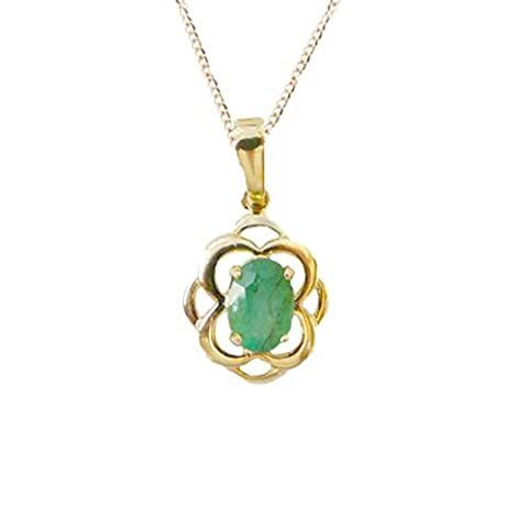 9ct or jaune véritable Émeraude ovale celtique Pendentif avec un 9ct, chaîne de 46cm–Pierre porte-bonheur mai–celtique Elegance