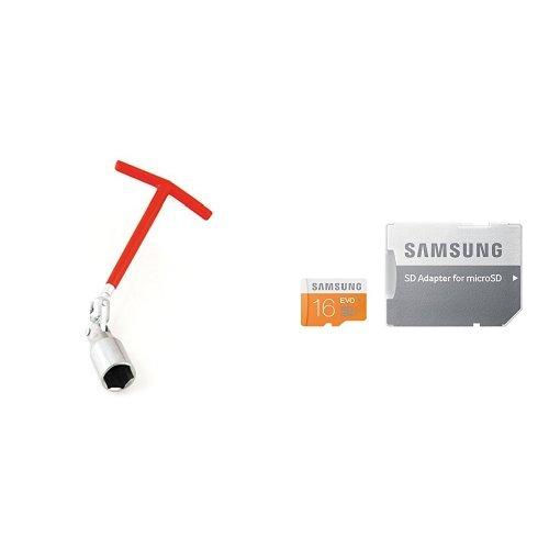 Motorkit MOTOR16503 Llave Bujía, 21 mm y Samsung Evo MB-MP16DA/EU - Tarjeta de memoria Micro SDHC de 16 GB (UHS-I Grade 1 Clase 10, con adaptador