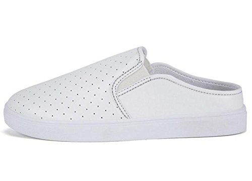 GLTER Loafers Schuhe Sommer Neue Männer Breathable Schuhe Leder Casual Schuhe Maultiere White
