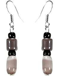 CRYSTAL & BEADS Agate Brown Colour Barrel Cats Eye & Chocolate Brown Colour Bead & Onyx Black Colour Moonball...