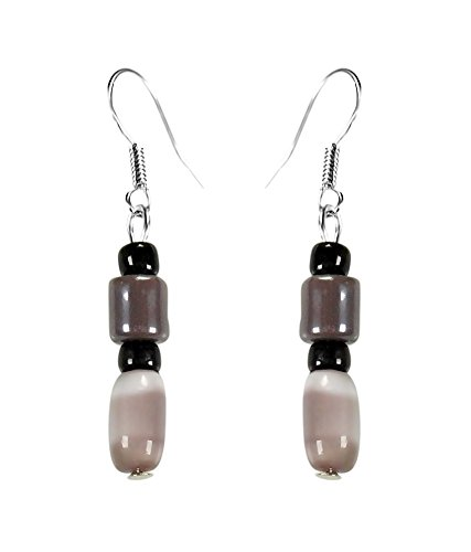CRYSTAL & BEADS Agate Brown Colour Barrel Cats Eye & Chocolate Brown Colour Bead & Onyx Black Colour Moonball Earring