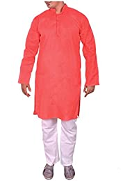 Arzaan Creation's Mens Khadi Cotton Blend Regular Fit Gajari Kurta With White Cotton Payjama