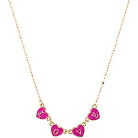 Lux accessori, colore: rosa Neon LOVE-Collana con ciondolo a forma di cuore