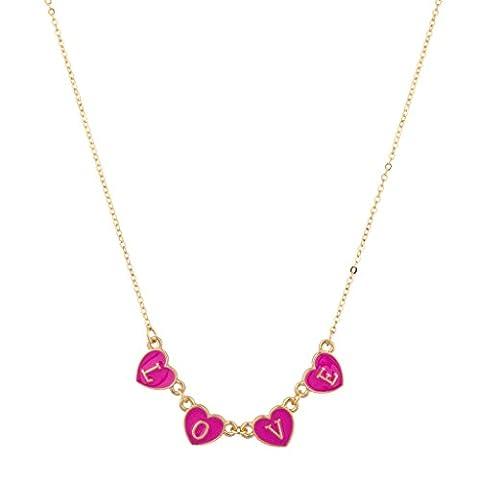 Lux Accessories - Collier Pendentif Cœur Laqué Love Néon