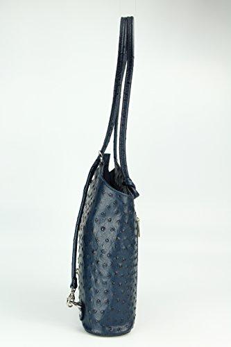 """BELLI ital. Ledertasche """"Belli Backpack"""" 2in1 Rucksack Handtasche Schultertasche - Freie Farbwahl - 28x28x8 cm (B x H x T) Blau strauss"""