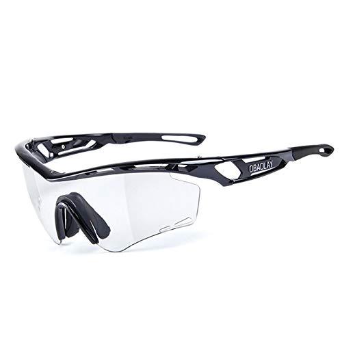 Bishilin Motorradbrille Winddicht Sportbrille Outdoor Glänz Schwarz Sonnenbrille Schutzbrille