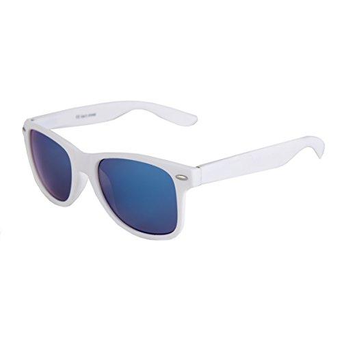 NEU Hochwertige Nerd Wayfarer Sonnenbrille Rubber im Retro Stil Vintage Unisex Brille mit Federscharnier Blau verspiegelte Gläser (Weiß - Blau verspiegelt)