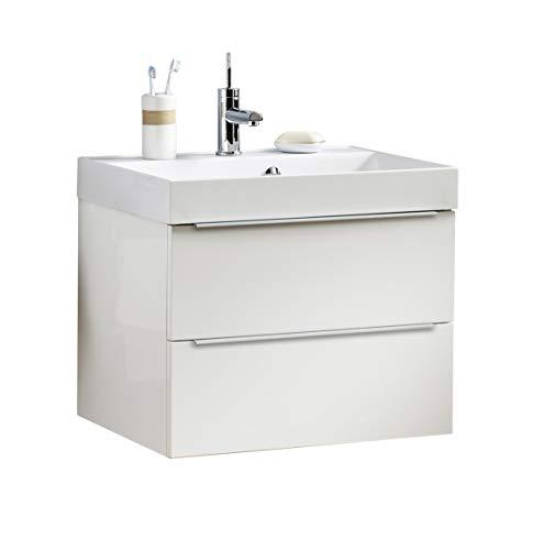 BadeDu Gäste WC Set Grazia/Waschbecken mit Unterschrank/Maße (B x H x T): ca. 60 x 51 x 45 cm/Waschtisch aus Gussmarmor / 2 Schubladen/Set fürs Bad und WC/Becken: Weiß/Schrank: Weiß -