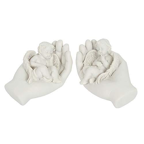 Hunky Dory Gifts Satz von 2 Schlaf Enge Engel Baby Cherub In Händen Memorial Hausgarten Graveside -