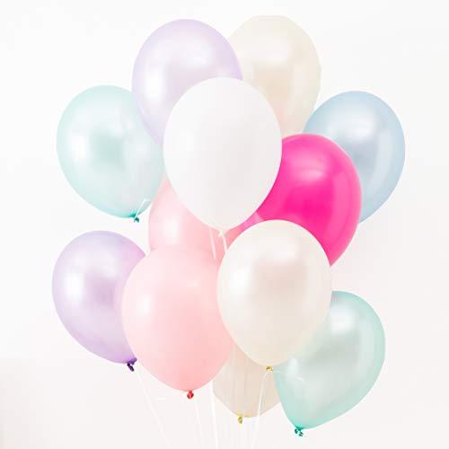 Konfetti & Bär - 42 Luftballons in Pastellfarben für Geburtstag, Geburt, Hochzeit, Party, Kinderparty oder Sommerfest