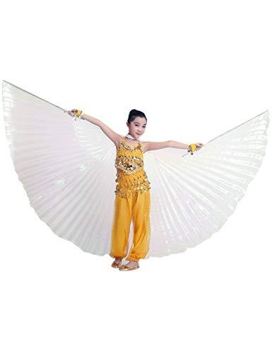 besbomig Kinder Mädchen Bauchtänzerin Flügel Einschließlich Teleskopisch Stöcke/Ruten - 360 Degree Ägypten Indian Tanzen Kostüm Flügel Darstellende Zubehör (Tanzen Kostüm Kinder)