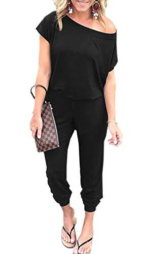 Angashion Damen Jumpsuit -Einer Schulter Kurze Ärmel Overalls Elastische Taille Rompers mit Taschen Schwarz M