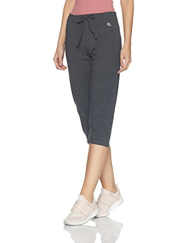 Macrowoman Women's Cotton Stretch Power Capris (MW3101_Black Melamge_M)