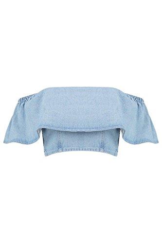 Bleu Femme Sadie Denim Ruffle Off The Shoulder Top Bleu