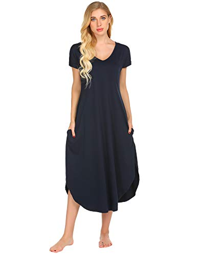Bett Sleepshirt (ADOME Damen Nachthemd Kurzarm V-Ausschnitt Sleepshirt Nachthemd High Low Unregelmäßige Baumwolle Lange Nachtwäsche Schlafanzug Kleid mit Taschen)