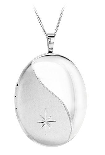 Tuscany Silver Sterling Silver Diamond Cut Etched Wave Satin Polished Oval Locket on Curb Chain 46cm/18""