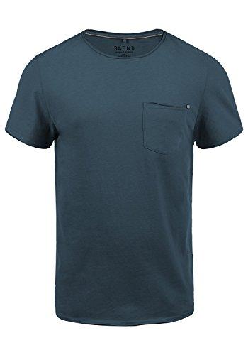 Blend V-neck T-shirt (Blend Flix Herren T-Shirt Kurzarm Shirt Mit Rundhalsausschnitt Aus 100% Baumwolle, Größe:L, Farbe:Ensign Blue (70260))
