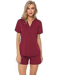 548eb61771 Hawiton Damen Schlafanzug Kurz Baumwolle Pyjama Sommer Nachtwäsche Nachthemd  Hausanzug Kurzarm V Ausschnitt